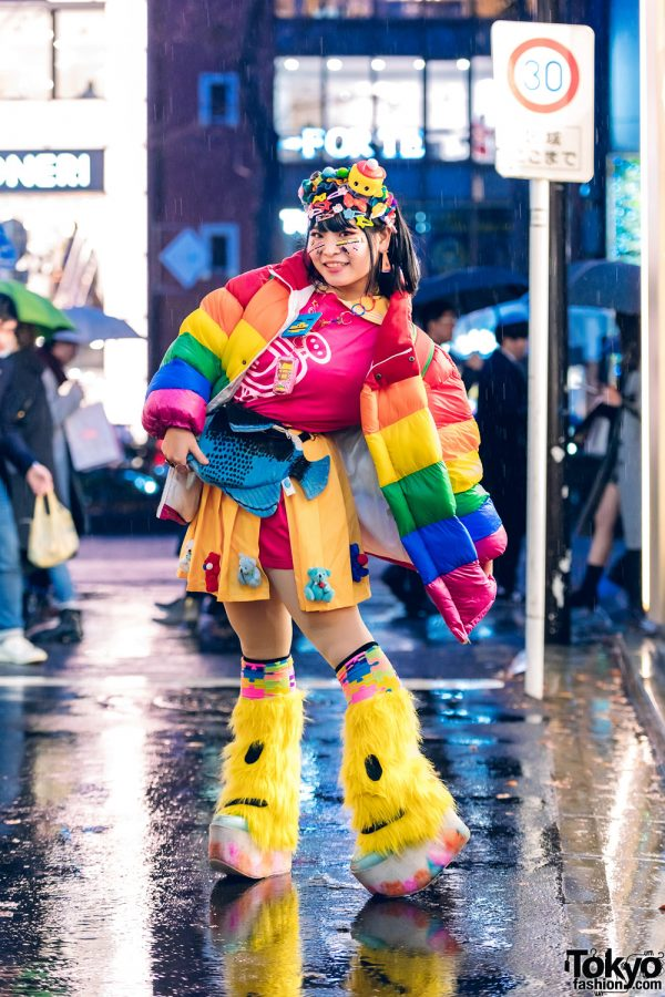 Harajuku Decora Street Style w/ Handmade Hair Clips, Pixel Bead Necklace, Rainbow Puffer Jacket, Yoshida Channel, Teddy Bear Skirt, Leg Warmers & Yosuke Platforms