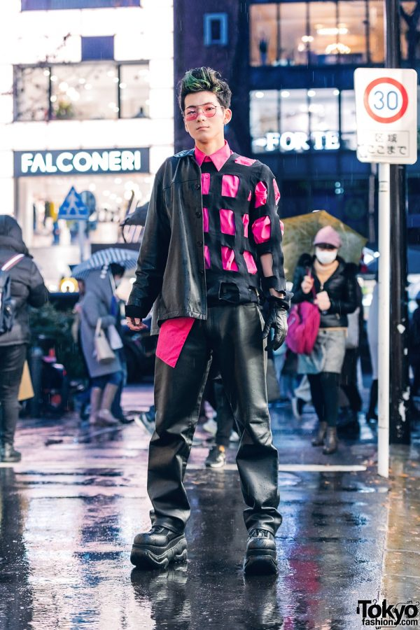 Black & Pink Tokyo Street Style w/ Pink Sunglasses, Leather Jacket, Comme des Garcons Caged Sweater, LAD Musician Shirt, & Demonia Lace-Up Shoes