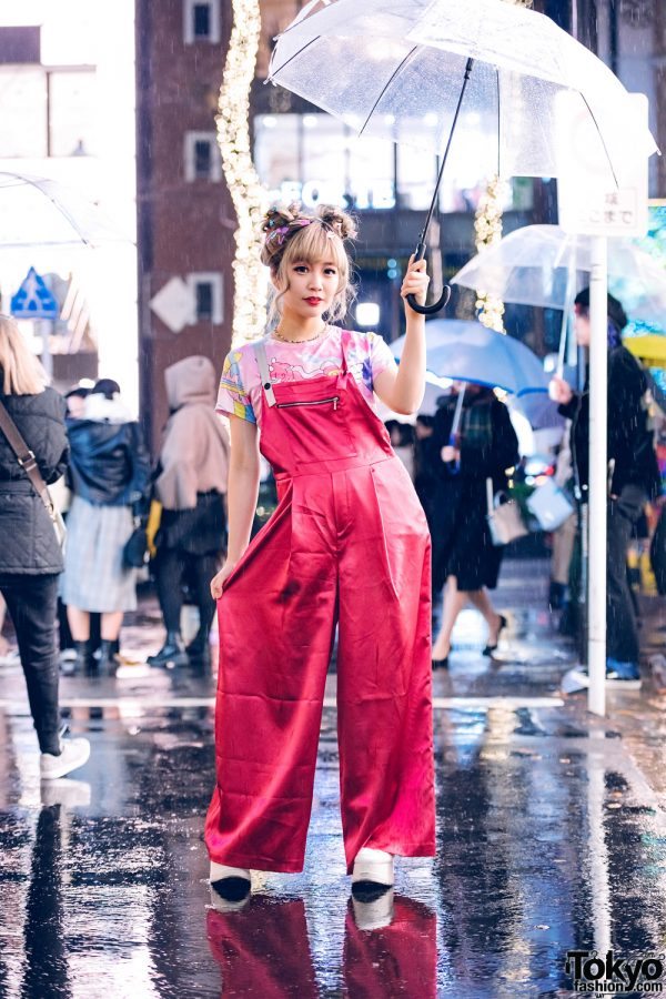 Kyoto Idol & Kawaii Monster Girl in Harajuku w/ Twin Buns, Clear Umbrella, Scai Wide Leg Satin Overalls, Unicorn Shirt & Yosuke Platforms