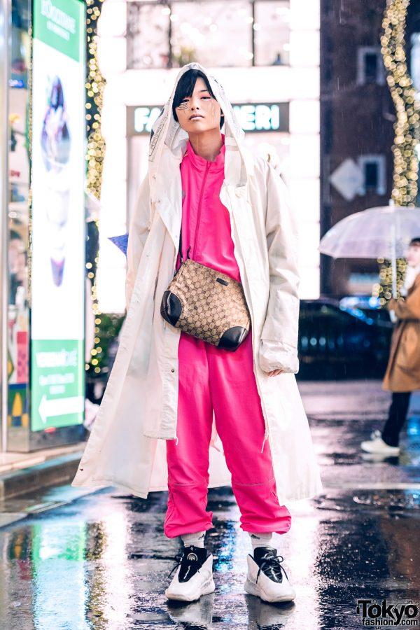 Harajuku Style w/ Face Makeup, Vintage Coat, Gosha Rubchinskiy Track Suit, Gucci Bag & Alexander Wang Sneakers