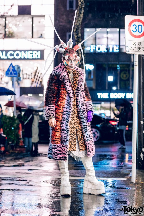 Avant-Garde Tokyo Street Style w/ Butterfly Face Makeup, Tubes Headpiece, Faux Fur Coat, Animal Prints & Demonia Platform Glitter Boots