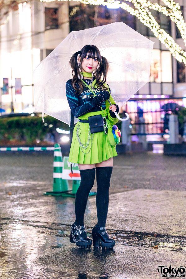 Japanese Idol Street Style w/ Clear Umbrella, Harness Jacket, WEGO Harajuku Pleated Skirt, Romantic Standard, Flower Bag & Yosuke USA Heels