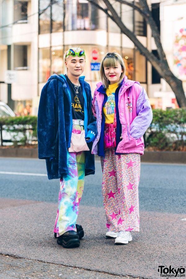 Colorful Layered Resale Tokyo Street Styles w/ Alien Sunglasses, Faith Tokyo Faux Fur Coat, Kinji Harajuku, Mabataki, Candy Stripper, Demonia & Sketchers