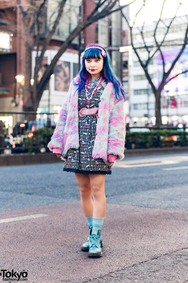 6%DokiDoki Staffer's Streetwear Style w/ ACDC Rag Furry Jacket, Plaid Dress, Braided Belt & Dr. Martens Glitter Boots