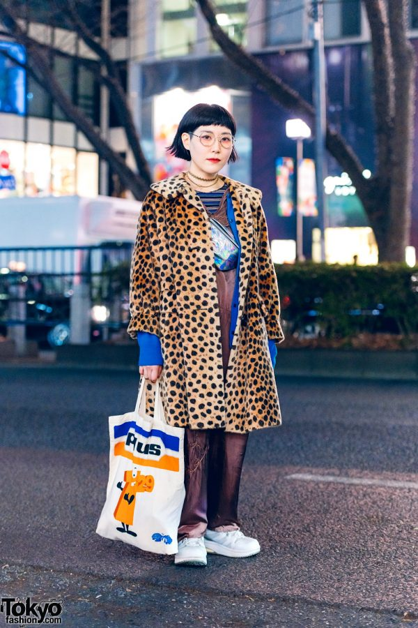 Japanese Accessory Artist in w/ Shiho Tabei Chokers, Leopard Print Coat, Jumpsuit, Canvas Tote, & Metallic Waist Bag