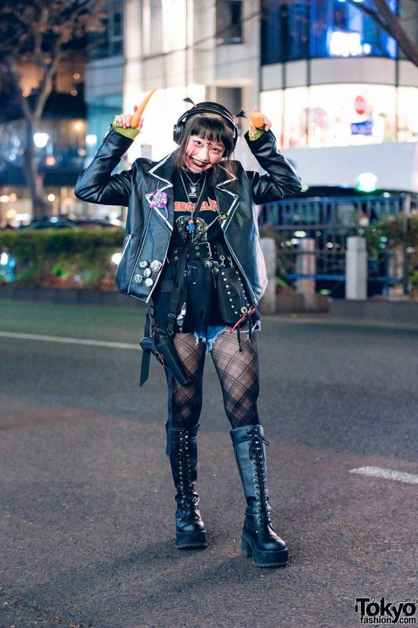 Punky Harajuku Girl Street Style w/ Shaved Hairstyle, Chucky, Biker Jacket, Handmade Accessories & Demonia Boots