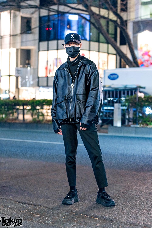 All Black Mens Minimalist Japanese Street Style w/ OY Cap, Leather Blouson, ESC Studio Turtleneck, UNIQLO Cropped Pants, ASCLO & Hoka One One Chunky Sneakers