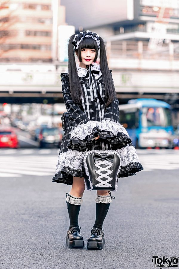 Japanese Gothic Lolita Style in Tokyo w/ Lace Headdress, Marble Checkered Dress, Baby The Stars Shine Bright, Spica Bow Bag & H.Naoto Backpack