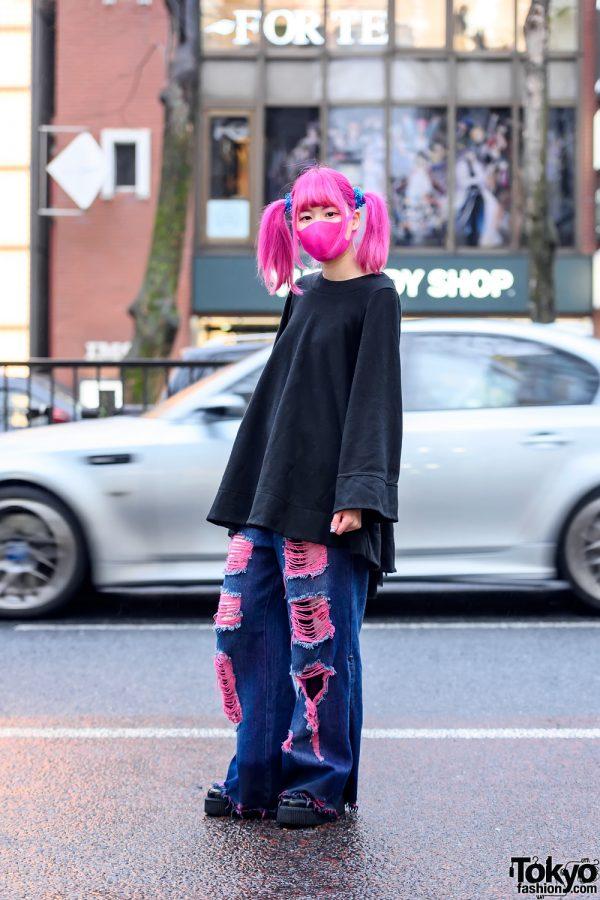 Pink Twintails Kawaii Harajuku Street Style w/ Face Mask, One Spo Oversized Top & Qooza Platform Creepers