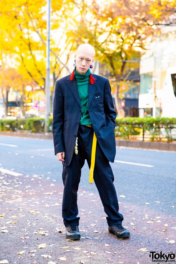 Tokyo Menswear Street Style w/ Burberry Plaid Suit, Mahjong Tassel Earrings, Vintage Turtleneck Sweater, Runurunu, Kenzo, Ground Y & Nike Sneakers