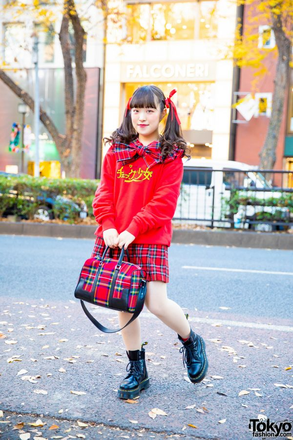 Plaid Streetwear Style in Harajuku w/ Curly Twin Tails, HEIHEI Sweater, Chicago Harajuku Pleated Skirt, Bowler Bag & Dr. Martens Boots