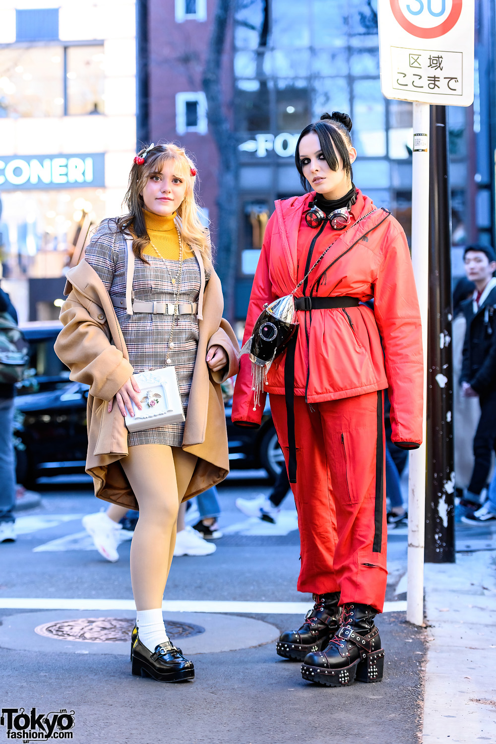 Harajuku Styles w/ Goggles, Rocket Space & Cherub Chain Sling Bags, Forever21 Houndstooth Dress, The North Face Puffer Jacket, I.Am.Gia & Out Of The World Boots