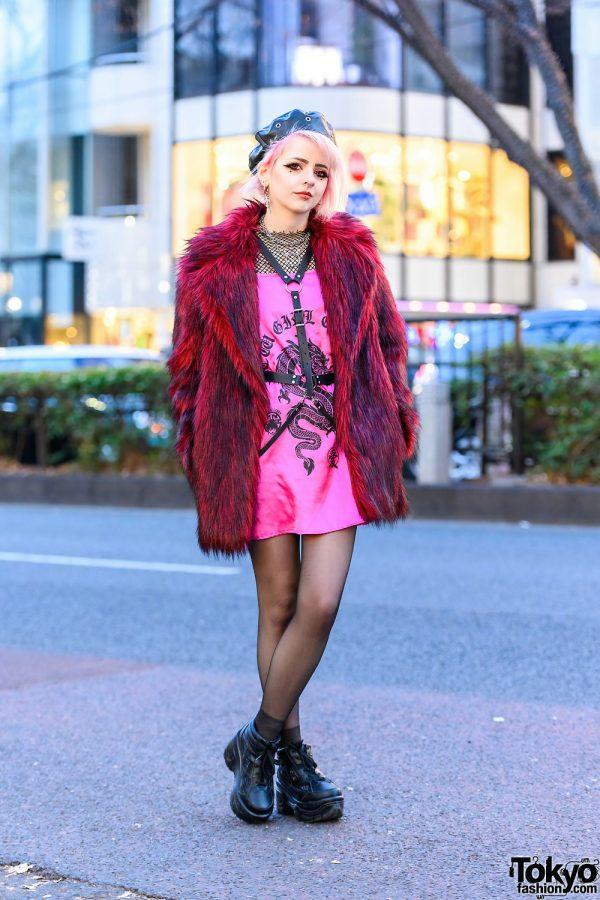 Harajuku Style w/ Pink Hair, Leather Beret, Asos Furry Coat, New Girl Order, Kobinai, ME Harajuku & Black Sneakers