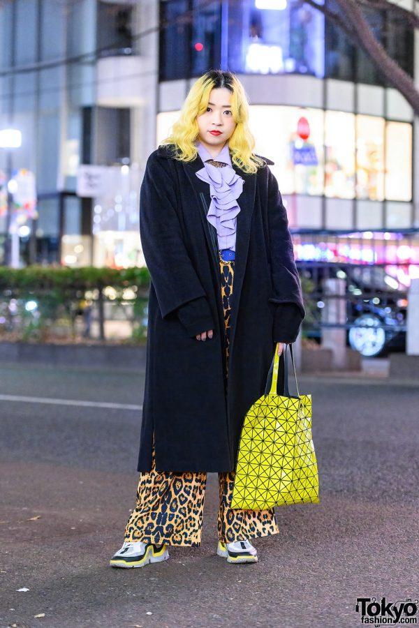 Harajuku Style w/ Yellow Hair, Bib Collar Necklace, Max Mara Coat, Leopard Print Pants, Issey Miyake Bao Bao Tote & Pierre Hardy Sneakers