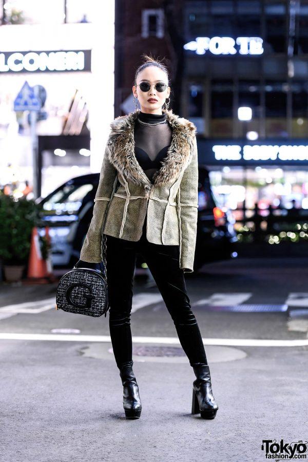 Juemi Tokyo Style w/ Sleek Bun, Gr8 Sunglasses, Furry Jacket, Sheer Turtleneck, Velvet Skinny Pants, Guess Tweed Bag & Chelsea Boots