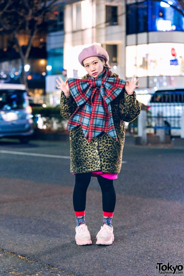 Tempura Kidz Karin's Style w/ Furry Pillbox Hat, Leopard Print Coat, Black Tights, HEIHEI Plaid Bow Scarf & Puma Chunky Sneakers