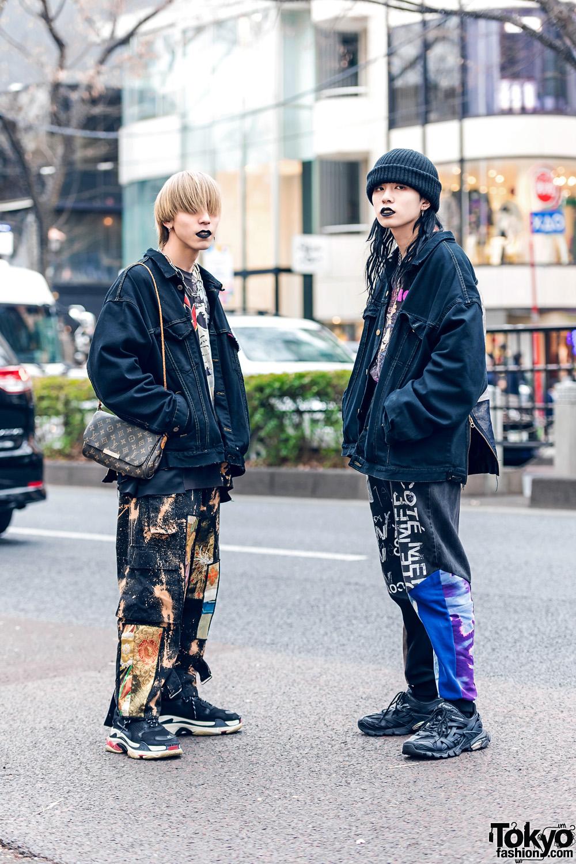 Cote Mer Kimono Jackets in Harajuku w/ Black Lipstick, Patchwork Pants, Louis Vuitton Bag & Balenciaga Chunky Sneakers