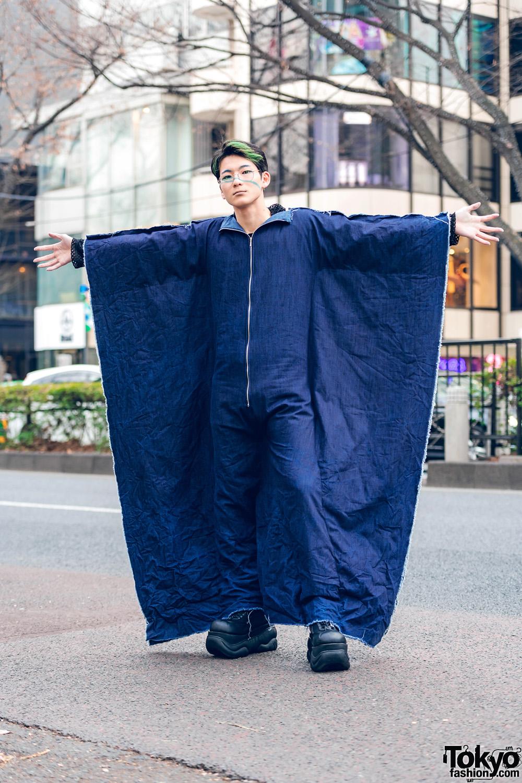 Winged Denim Jumpsuit Tokyo Street Style w/ Comme des Garcons Cutout Top, Handmade Fashion & Demonia Platforms