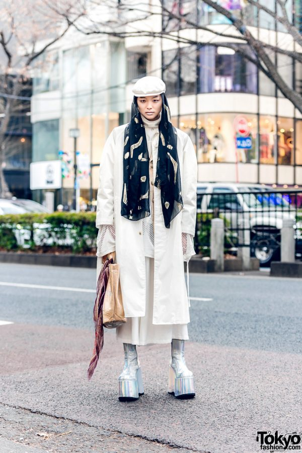 Harajuku All White Outfit w/ White Lipstick, Doublet Coat, Limi Feu Cutout Top, As Super Sonic, Comme des Garcons, D&G, Gucci, Number (N)ine & Demonia Platform Boots