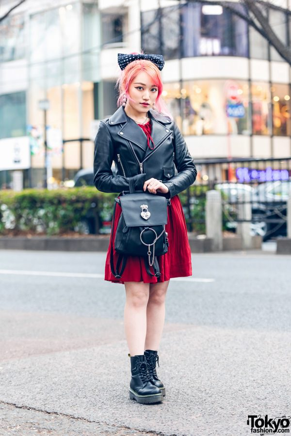 Japanese Guitarist Lisa13 in Harajuku w/ Pink Hair, Polka Dot Bow, Cropped Biker Jacket, Korean Dress, Gucci, Nyulycadelic Backpack & Dr. Martens Boots