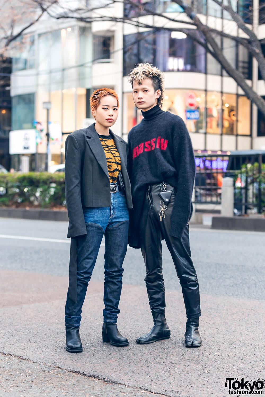 Tokyo Street Styles w/ Orange Pixie Cut, Mohawk Hair, Tiger Print Sweater, Mohair Sweater, John Lawrence Sullivan, Dr. Martens & Maison Margiela Tabi Boots