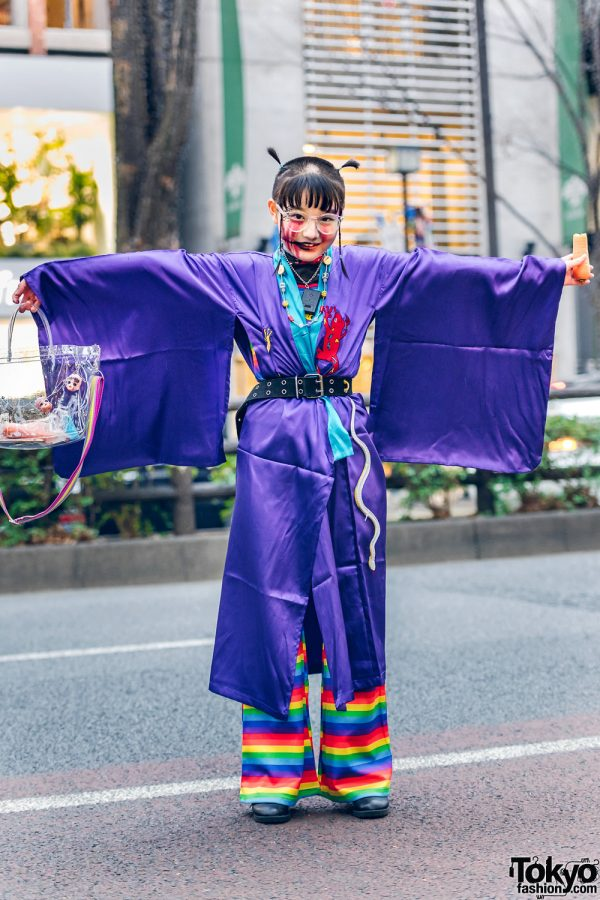 Kobinai Kimono Japanese Street Style w/ Shaved Hairstyle, Rainbow Pants, Handmade Doll Heads Bag & Lace-Up Boots