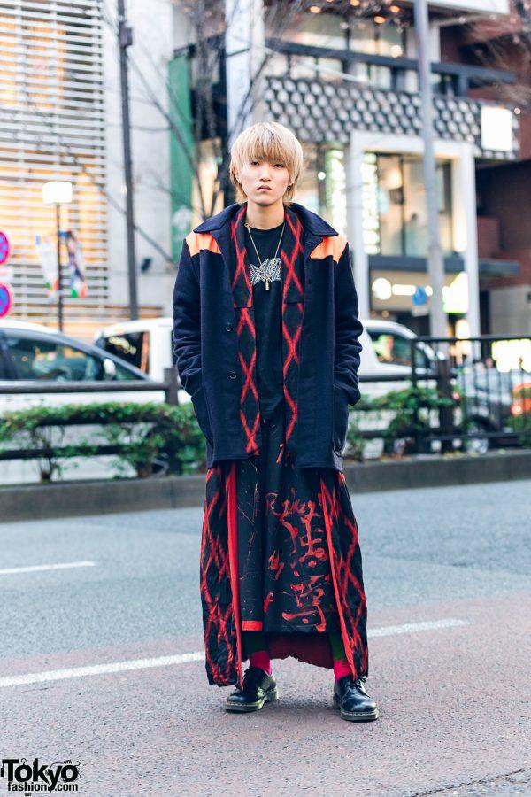 Harajuku Kimono Remake Streetwear w/ Lock Necklace, Colorblock Coat, Geometric Kimono, Not Conventional Pants & Dr. Martens Shoes