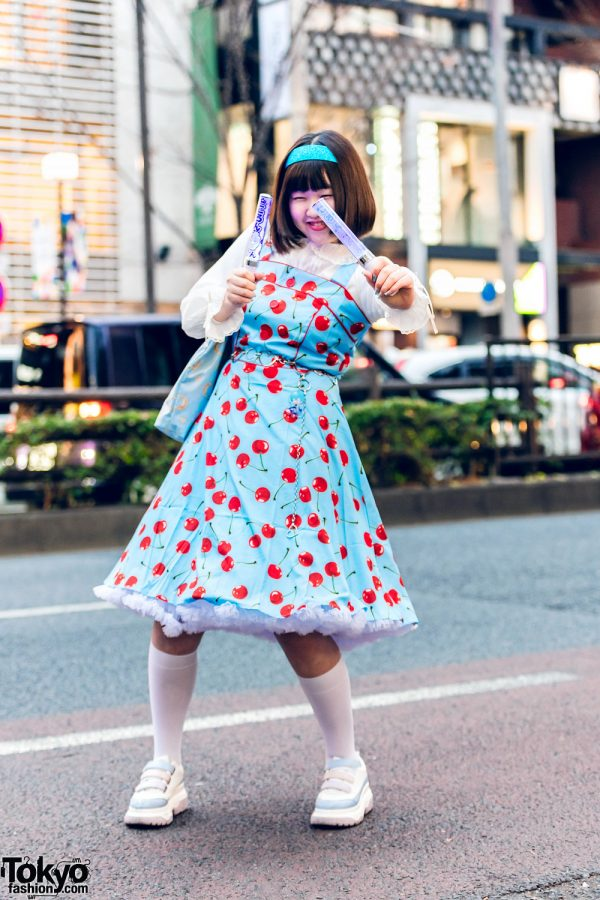 Harajuku Girl Style w/ Headband, Cherry Print Jumper Dress, Moon Print Tote Bag & Pastel Sneakers