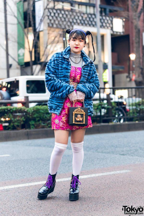 Tokyo Street Style w/ Twin Braids, Romantic Standard Furry Jacket, Floral Print Tube Dress, Angel Box Bag, Never Mind the XU & Platform Boots