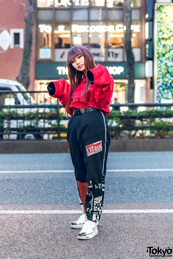 Harajuku Style w/ Pink Hair Streaks, Chinese Embroidered Satin Top, Cote Mer Graphic Pants, Bless & Nike Sneakers