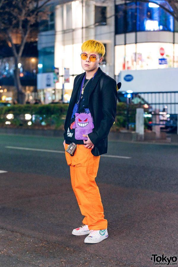 Pokemon Tokyo Streetwear Style w/ Yellow Hair, Gengar Bag, Pikachu Backpack, Chanel Earrings & Nike AF1