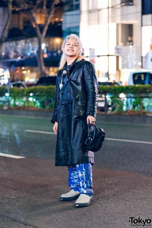 Ash Blonde Mullet Hair in Harajuku w/ Contena Store Coat, Sub-Age, Jean Paul Gaultier, Y Project Bag, GlamHate, Kadakada & Eytys