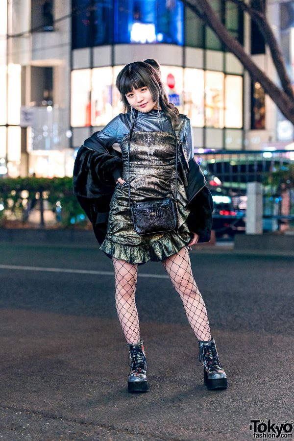 All Black Tokyo Street Style w/ Zara Fuzzy Jacket, Romantic Standard, Shirred Ruffle Dress, Fishnet Tights, Vintage Bag & Yosuke Platform Floral Boots