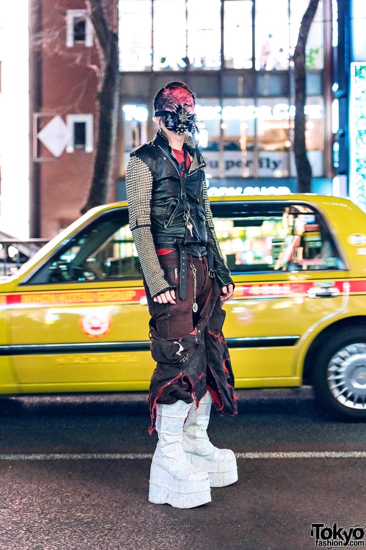 Avant-Garde Japanese Street Fashion w/ Extreme Makeup, Gas Mask, Zac Vargas Studded Jacket, Anton Berluti, Rowan & Demonia Platform Glitter Boots