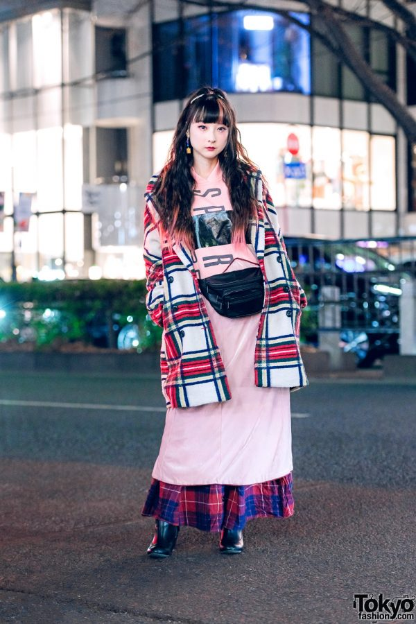 YouTuber RinRin Doll in Harajuku w/ Curly Pink-Streaked Hair, Eye Jewels, Desigual Plaid Coat, Yeah Right Hoodie Dress, Plaid Maxi Skirt, Vintage Kinsella Waist Bag, Miu Miu & Jelly Beans