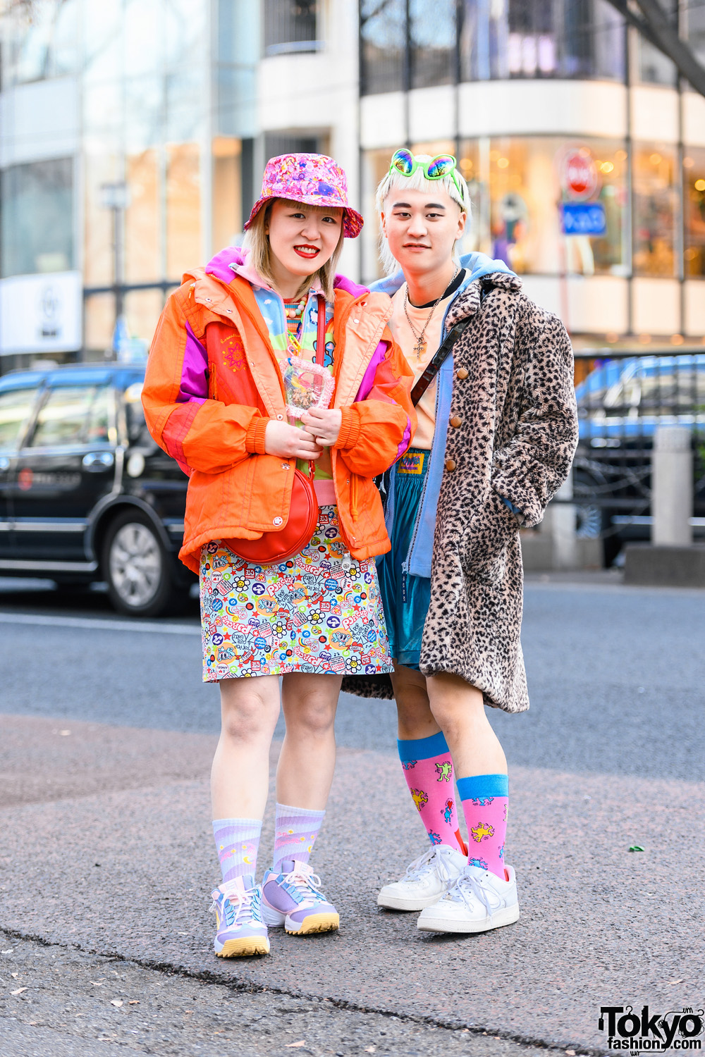 Tokyo Vintage Shop Staffers in Colorful  Styles w/ Kawaii Bucket Hat, Alien Sunglasses, Troll Necklace, Neon Moon, MCM, Courreges, UNIF, & Galaxxxy
