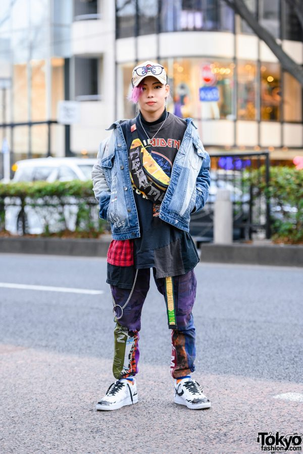 Cote Mer Graphic Print Streetwear w/ Pink Hair, Skull Cap, Guess Denim Jacket, Patchwork Shirt & Pants, Cote Mer Waist Bag & Nike Sneakers
