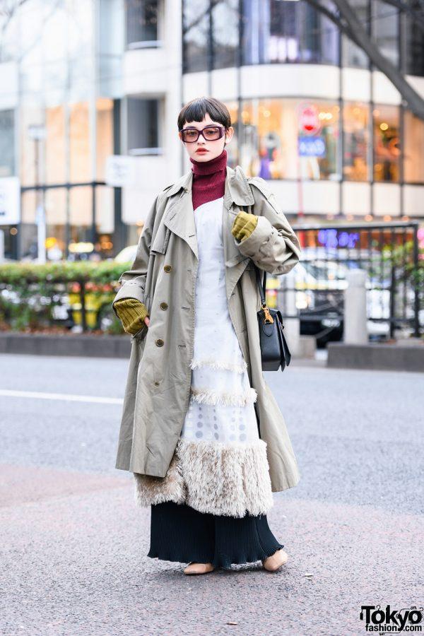 Tokyo Model's Street Fashion w/ Dior Sunglasses, Trench Coat, Lily Brown Furry Dress, Kotoha Yokozawa, Tokyo Human Experiments, Charles & Keith, & Mila Owen Boots
