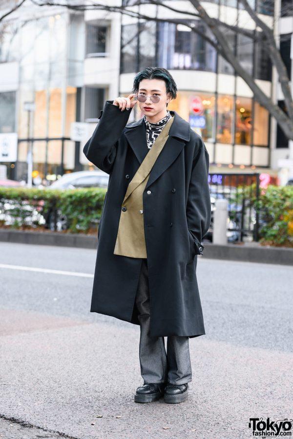 Monochrome Menswear w/ Blue-Streaked Hair, WEGO Sunglasses, Double-Breasted Coat, H&M Turtleneck, Vintage Fashion & Dr. Martens
