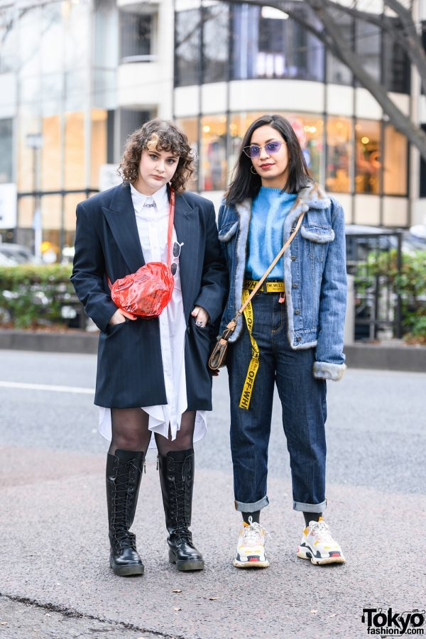 Harajuku Girls Styles w/ Gucci Sunglasses, Oversized Blazer, Zara, Denim Jacket, H&M, Off-White, WEGO, LV Bag, Vintage Knee Boots & Balenciaga