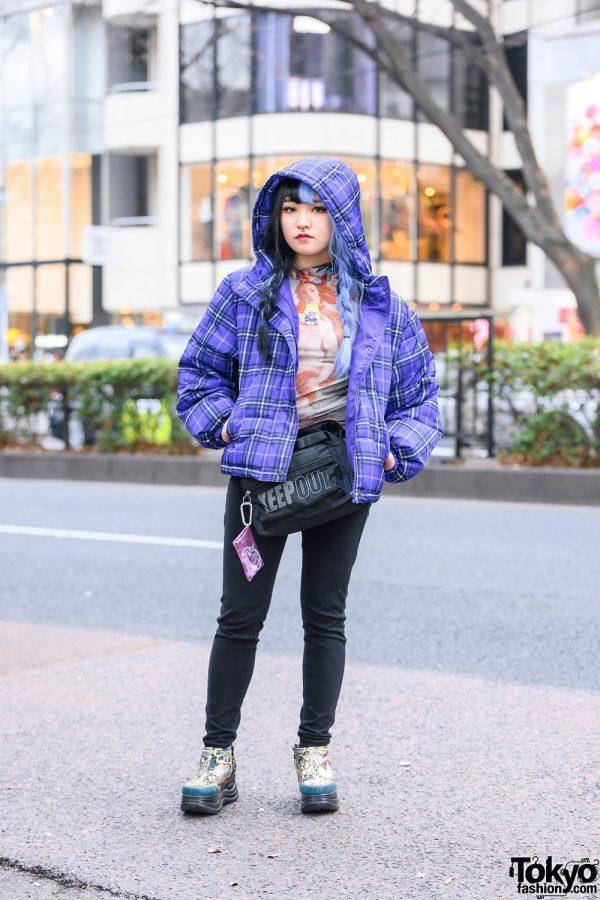Tokyo Streetwear Style w/ Half-Color Twin Braids, Septum Ring, WEGO Plaid Jacket, ME Harajuku Venus Print, Sailor Moon Necklace & Yosuke Boots