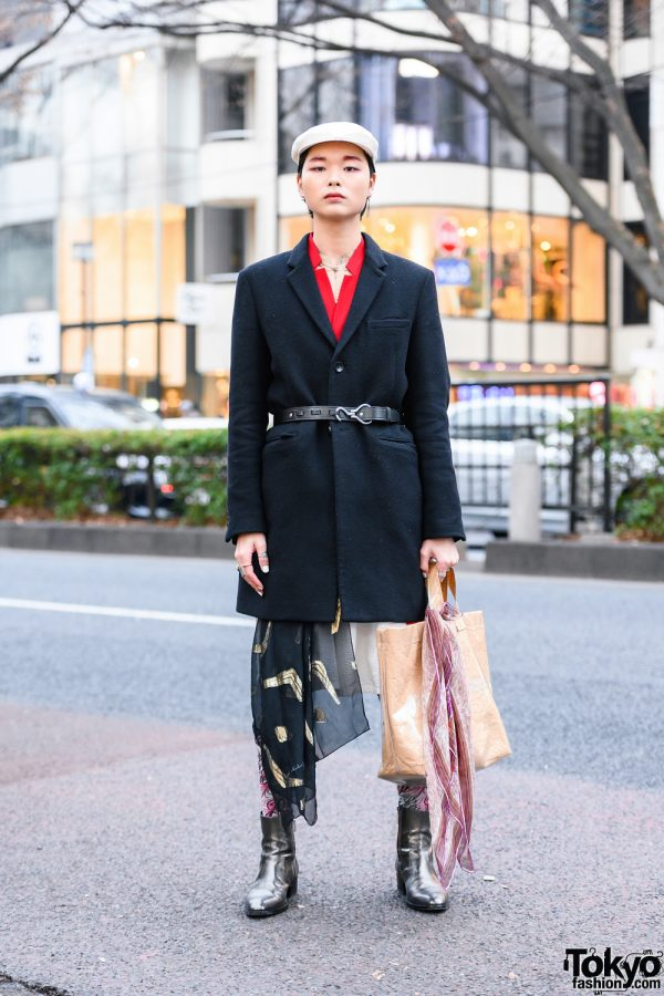 Tokyo Menswear Street Style w/ Newsboy Cap, Number (N)ine Coat, Two-Tone Coat Dress, Gucci, Dolce & Gabbana, Comme des Garcons Tote & Saint Laurent Boots