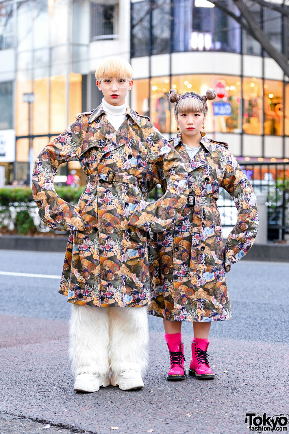 Tempura Kidz x Anrealage Japanese Street Styles w/ Belted Trench Coats, Furry Pants & Pink Dr. Martens