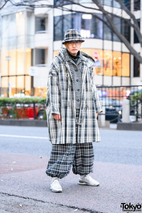 All Over Plaid Tokyo  Style w/ Bucket Hat, Remake Hooded Coat, Ray Cassin Blazer, Turtleneck Top, Handmade Balloon Pants & Silver Sneakers