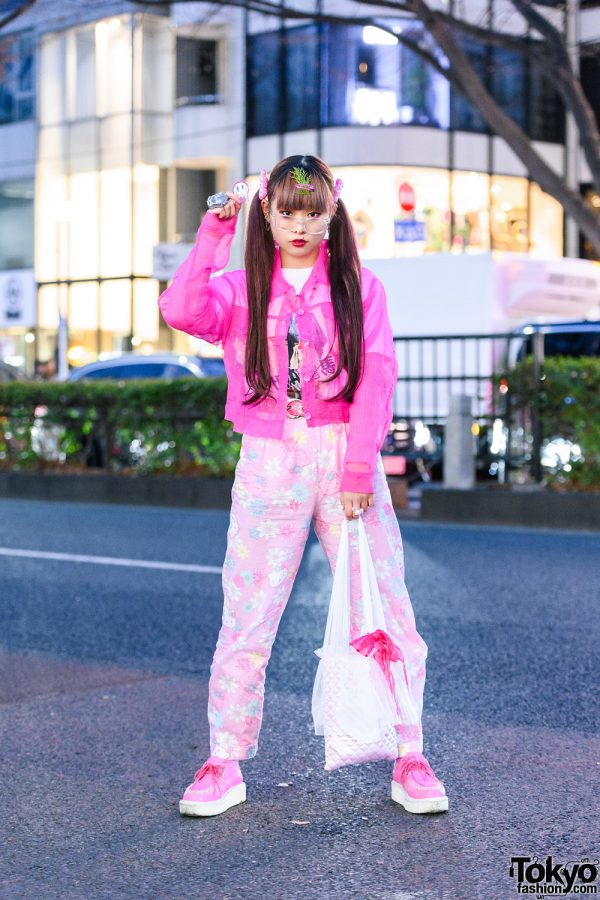 Pink & White Street Style w/ Twin Tails, Hair Clips, Forever21 Sheer Jacket, Hello Kitty Pajama Pants, Rosary Necklace, Kamen Rider & Pokemon Rings, Quilted Bag & Yosuke Pink Creepers