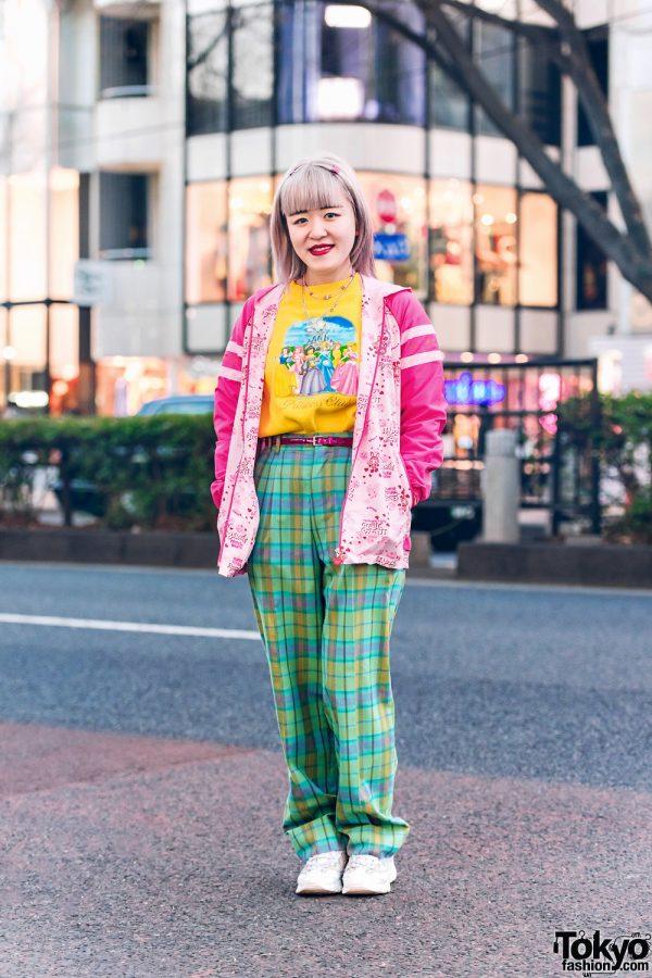 Harajuku Girl Streetwear Style w/ Butterfly Hair Clips, Mezzo Piano, Disney Princess Shirt, Kinji Plaid Pants, Angel Blue & Sketchers Sneakers
