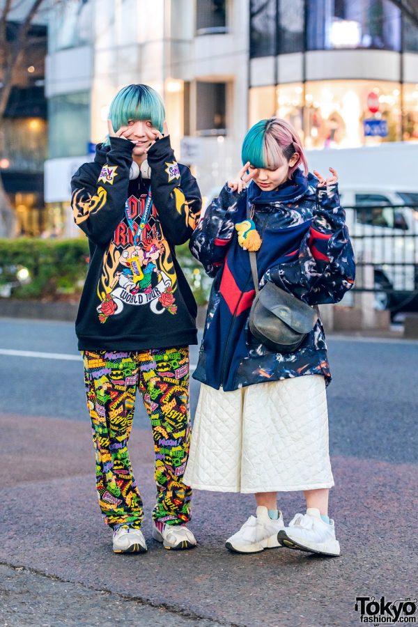 Harajuku Duo's Streetwear Styles w/ Aqua Bob, Half Color Bob, Rugrats Hoodie, Marvel Heroes Pants, Balmung Graphic Sweater, Ikumi Quilted Pants, MMC & Adidas Sneakers