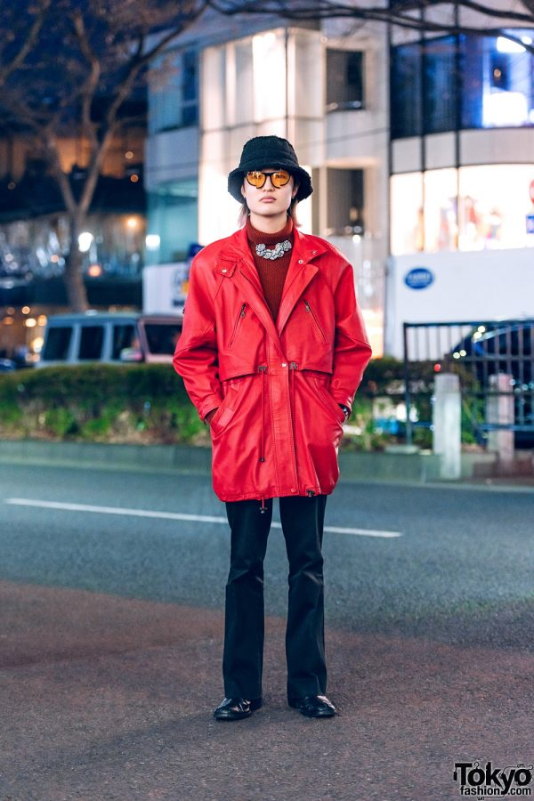 Red & Black Menswear in Harajuku w/ Bucket Hat, Christopher Nemeth Rope Print Necklace, Sullen Parka, Kolor, John Lawrence Sullivan & Gucci