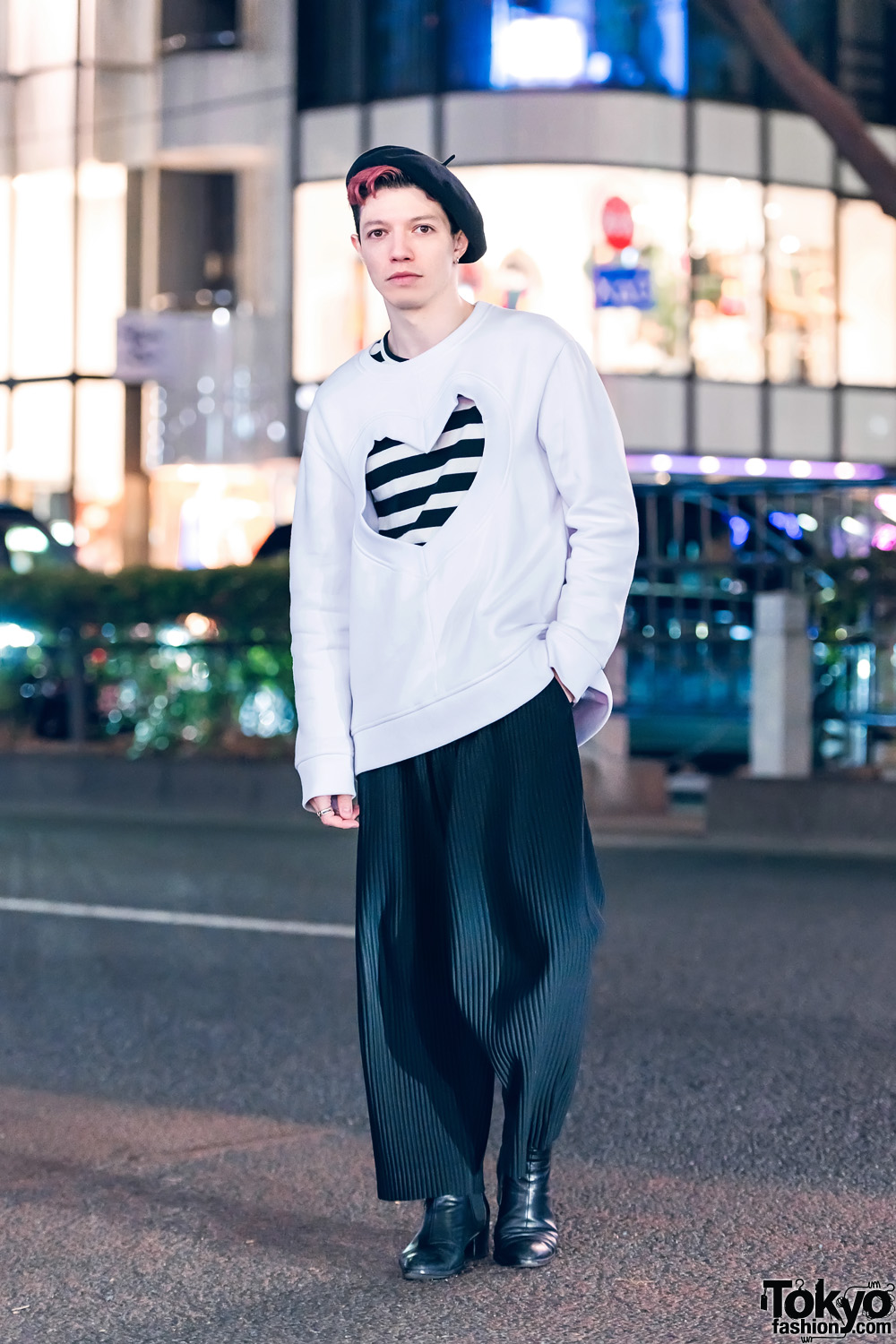 Tokyo Art Director in Harajuku w/ Dior Beret, Heart Sweater, Comme des Garcons, Issey Miyake &