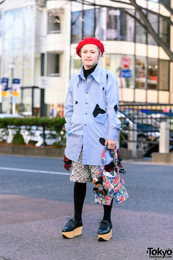 Charles Jeffrey Loverboy Street Style w/ Spiked Beret, Ripped Shirt, Hieroglyphic Print Shorts, Jumper Bag & Vivienne Westwood Rocking Horse Shoes